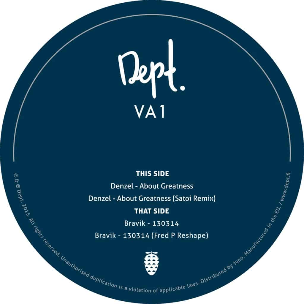 Denzel & Bravik – VA1 (inc. Fred P & Satoi Remixes) (DEPT 01)